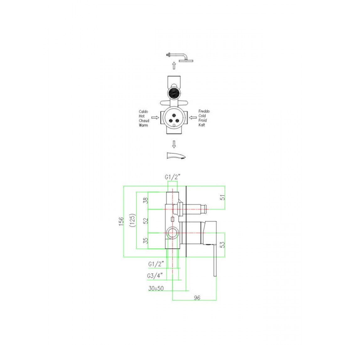 Katana Built In Shower Mixer With Diverter 77 Fiore Schematic Faucets